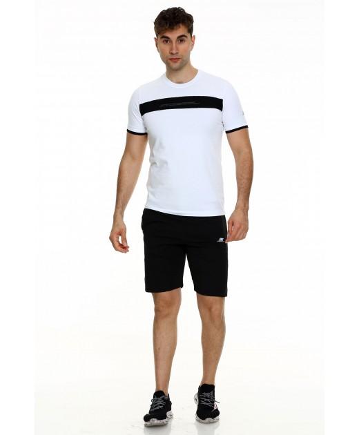 Мъжки Къс Комплект в Бяло с Черно