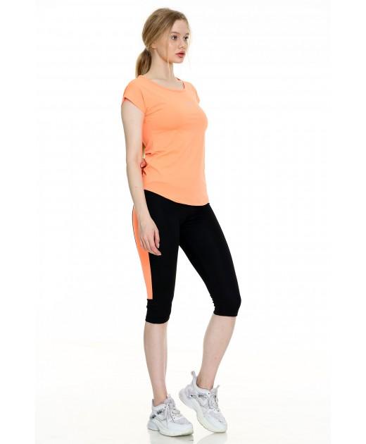 Дамски Комплект от Тениска и Клин Цвят Праскова