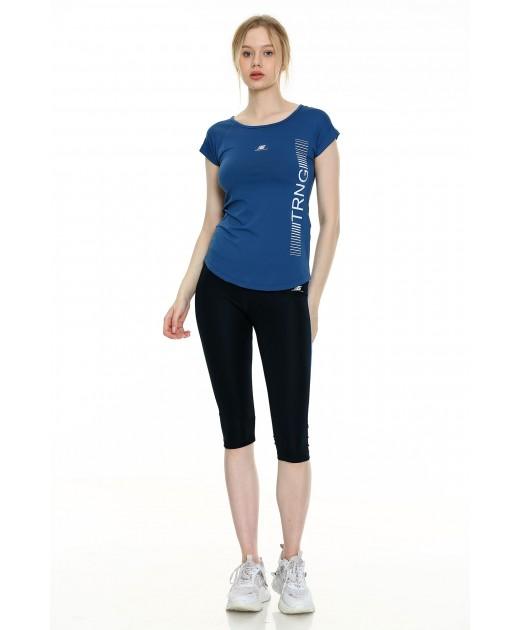 Дамски Комплект от Тениска и Клин Индиго
