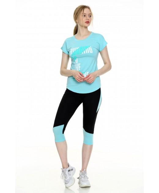 Дамски Комплект от Тениска и Клин Цвят Мента