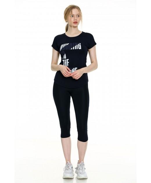 Дамски Комплект от Тениска и Клин в Тъмно Синьо